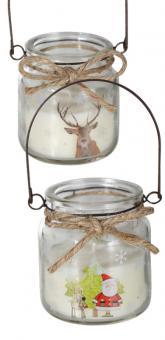 12er Set weiße Kerze im Glas