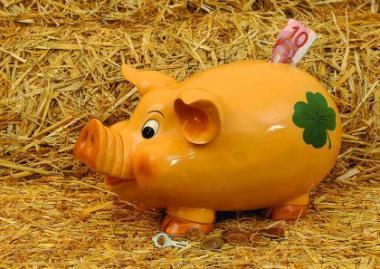 Jumbo Sparschwein mit Glückskleedekor