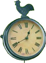 Wanduhr mit Thermometer und Glocke
