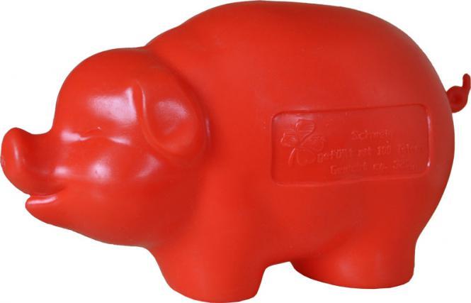 Kunststoff-Sparschwein Rot